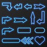 霓虹灯广告箭头符号集 库存例证