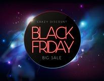霓虹灯广告黑色星期五大销售开放在抽象空间背景 库存例证