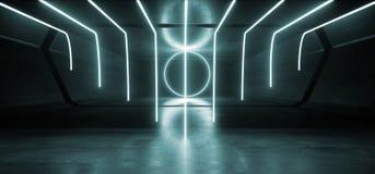 霓虹灯未来派发光的充满活力的蓝色激光夜展示隧道走廊反射性具体外籍人太空飞船塑造黑暗 皇族释放例证