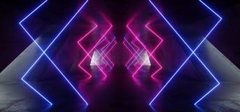 霓虹灯背景紫色蓝色充满活力的激光阶段展示地下车库霍尔隧道走廊水泥混凝土难看的东西 库存例证