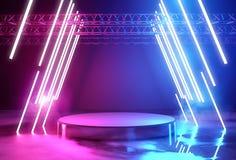 霓虹照明设备和平台阶段 皇族释放例证