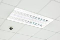 霓虹电灯泡和CCTV在地板上 免版税库存图片