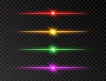 霓虹线集合 颜色亮光射线 在透明背景的发光的线集合 现实透镜火光集合 与光芒和spotli的闪光 库存例证