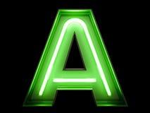 霓虹绿灯字母表字符A字体 库存图片