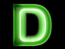 霓虹绿灯字母表字符D字体 免版税库存图片