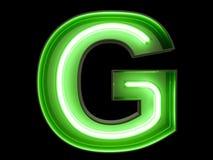 霓虹绿灯字母表字符G字体 图库摄影