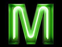 霓虹绿灯字母表字符M字体 库存图片
