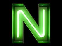 霓虹绿灯字母表字符N字体 免版税库存图片