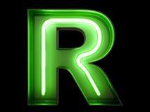霓虹绿灯字母表字符R字体 免版税库存照片