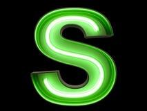 霓虹绿灯字母表字符S字体 库存照片