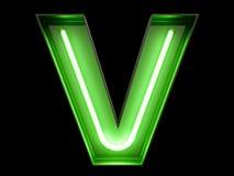 霓虹绿灯字母表字符v字体 免版税库存图片