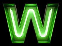 霓虹绿灯字母表字符W字体 免版税库存图片