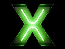 霓虹绿灯字母表字符x字体 库存照片
