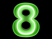 霓虹绿灯数字字母表字符8八字体 免版税库存图片