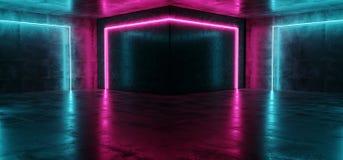 霓虹网络科学幻想小说未来派现代紫色桃红色蓝色发光的被带领的激光舞蹈俱乐部点燃黑暗的难看的东西混凝土反射性室 皇族释放例证