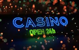霓虹赌博娱乐场开放24h标志 皇族释放例证