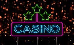 霓虹赌博娱乐场标志 向量例证