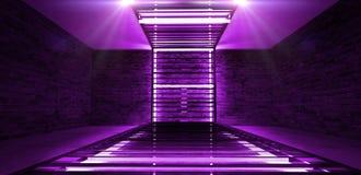 霓虹LED灯阐明的长方形金属建筑 有霓虹灯的砖墙 皇族释放例证