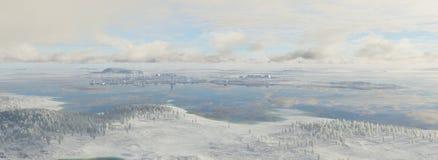 霜的未来派城市 库存图片