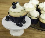 结霜的蓝莓松饼 免版税库存照片