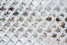 霜水晶盖的链节篱芭, 免版税库存图片