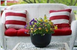 露台家具和五颜六色的蝴蝶花 免版税库存图片