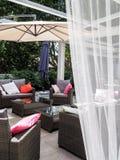 露台庭院家具在罗马 库存照片