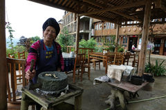 露台的米在大寨村庄调遣,广西,中国 图库摄影