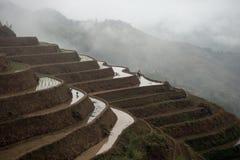 露台的米在大寨村庄调遣,广西,中国 库存照片