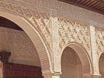 露台阿拉伯雕刻详细资料在阿尔汉布拉 库存照片