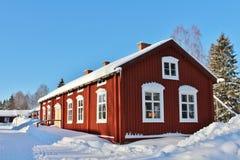 露天博物馆Hägnan在Gammelstad 库存照片