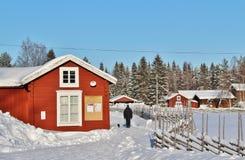 露天博物馆Hägnan在Gammelstad 免版税库存图片