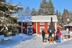 露天博物馆Hägnan在Gammelstad 免版税库存照片