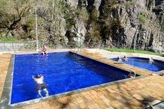 露天含硫水游泳池在博尔若米 佐治亚 图库摄影