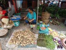 露天市场,琅勃拉邦,老挝 库存照片