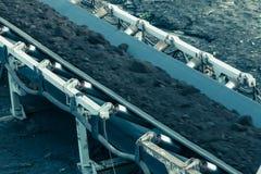 露天开采的褐煤矿 皮带输送机 图库摄影