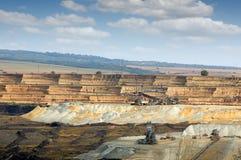 露天开采矿有大量手段的科斯托拉茨煤矿 库存照片