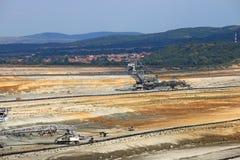 露天开采矿有挖掘机的煤矿 库存照片