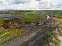 露天开采矿矿,排序的品种,开采的煤炭,农业硬煤,煤炭工业 免版税库存照片