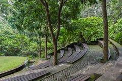 露天舞台在Ubud猴子森林,巴厘岛里 免版税图库摄影