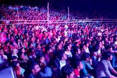 露天舞台观众在孟加拉国 免版税库存图片