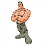 露胸部的赤裸战士肌肉健身 向量例证