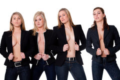 露胸部4个的女孩 免版税库存图片
