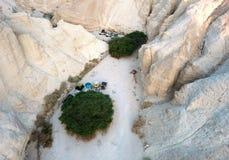 露营在沙漠Arava,以色列 免版税图库摄影