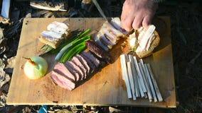 露营地的午餐游人在冬天 股票录像