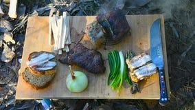 露营地的午餐游人在冬天 股票视频