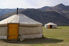 露营地蒙古yurt 免版税图库摄影