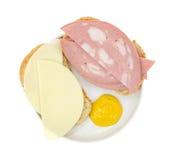 露面的熟香肠三明治 免版税库存图片