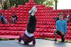 霹雳舞掸人挡雪板tien 免版税图库摄影