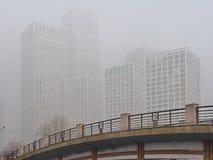阴霾被放置在北京CBD 图库摄影